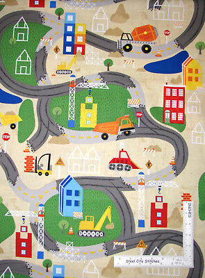Construction Site Scenic Truck Cotton Fabric Wilmington Detour Ahead By The Yard](Costume Site)