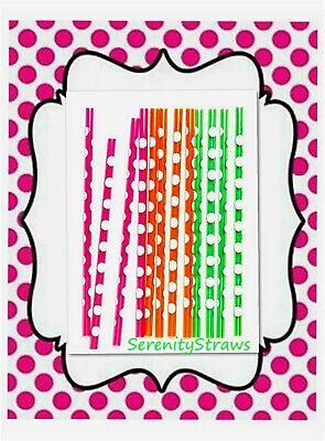 Reusable, Lot 12  - BIG POLKA DOT Straws, Orange, Green & Pink, BPA - Big Straws