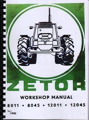 1982 ZETOR CRYSTAL 8011, 8045, 12011 & 12045 Tractor Workshop Manual Book na sprzedaż  Wysyłka do Poland