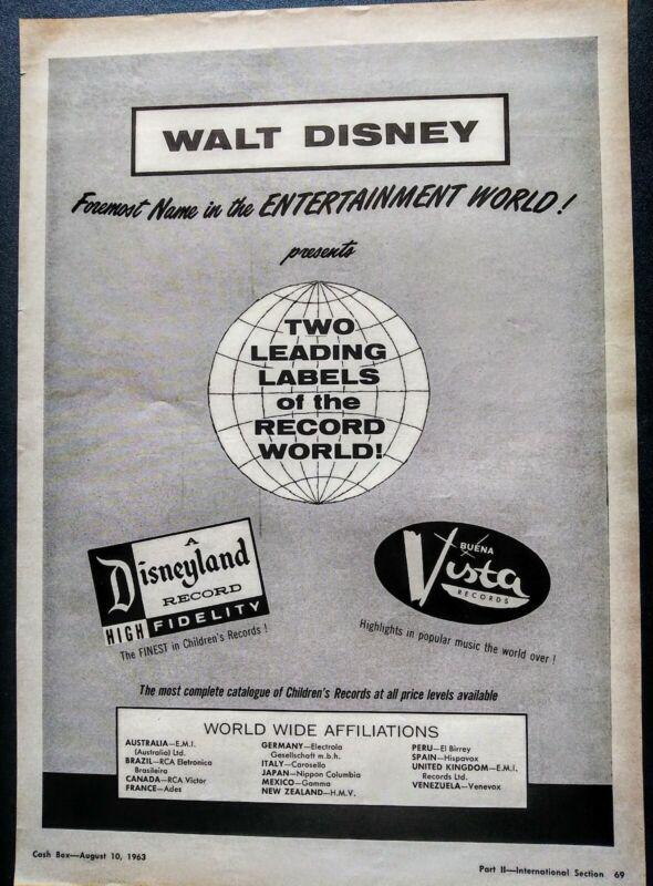 WALT DISNEY 2 RECORD LABELS DISNEYLAND~BUENA VISTA RECORDS 1963 RARE PRINT AD
