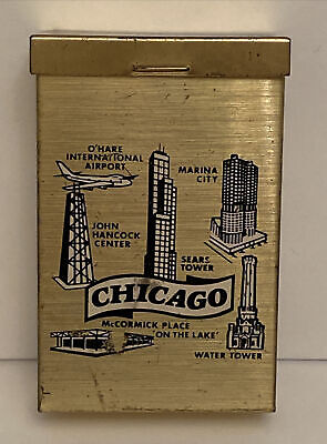 "Vintage Gold Tone Cigarette Case Travel Souvenir of CHICAGO, 3.5""H x 2.25""W"