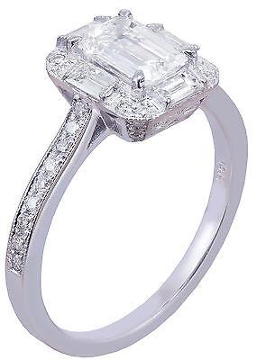 GIA G-VS2 14k White Gold Emerald Cut Diamond Engagement Ring Deco Halo 1.60ctw 2