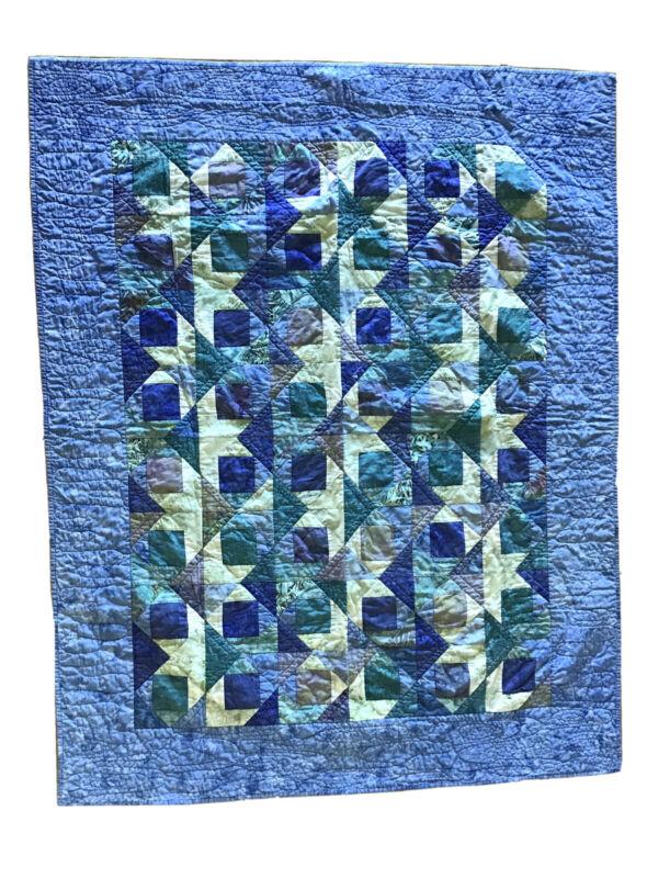 HANDMADE Batik Patchwork QUILT Lap Throw or Wall Hanging 57 x 46 Blue/Green Maui