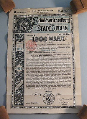 1919 Germany Berlin Bond 1000 Mark with Coupons- * Matching Serial #'s *- (L663)