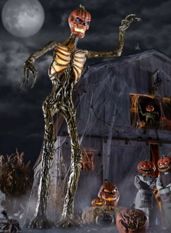 12 Ft. Rotten Patch GIANT-SIZED Inferno Pumpkin Skeleton With LifeEyes LCD