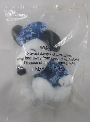 Met Life Snoopy Plush   Blue Camouflage Jacket And Cap   New In Sealed Package