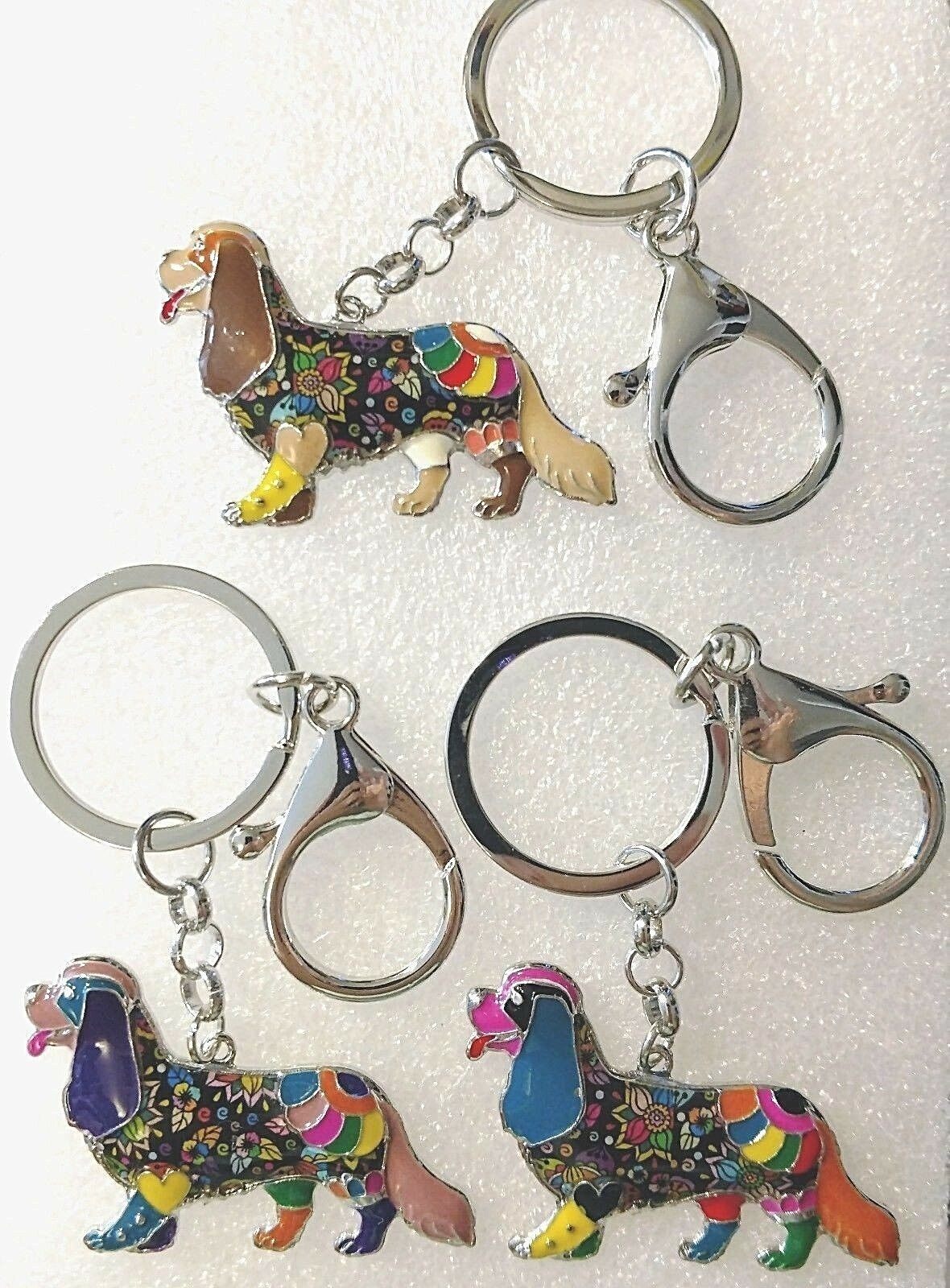 Cavalier King Charles Spaniel Dog Multicolor Enamel Key Ring Keychain Jewelry