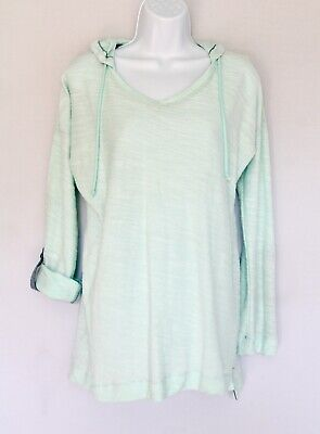 COLUMBIA Women's S Roll-tab Hooded Popover Soft French Terry Coverup Aqua Blue French Terry Roll