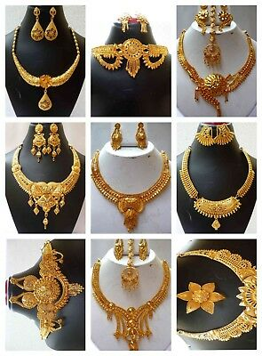 Indian Gold Jewelry - Indian 22K Gold Plated Wedding Necklace Earrings Jewelry Set Variations 8'' 'Set