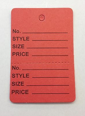 100 Red Clothing Consign Perforated Unstrung Price Merchandise Store Tags