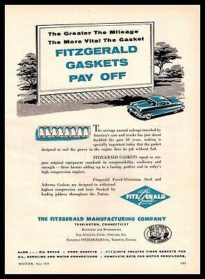 1959 Fitzgerald Gaskets Pay Off Torrington CT Billboard Sign Vintage Print Ad