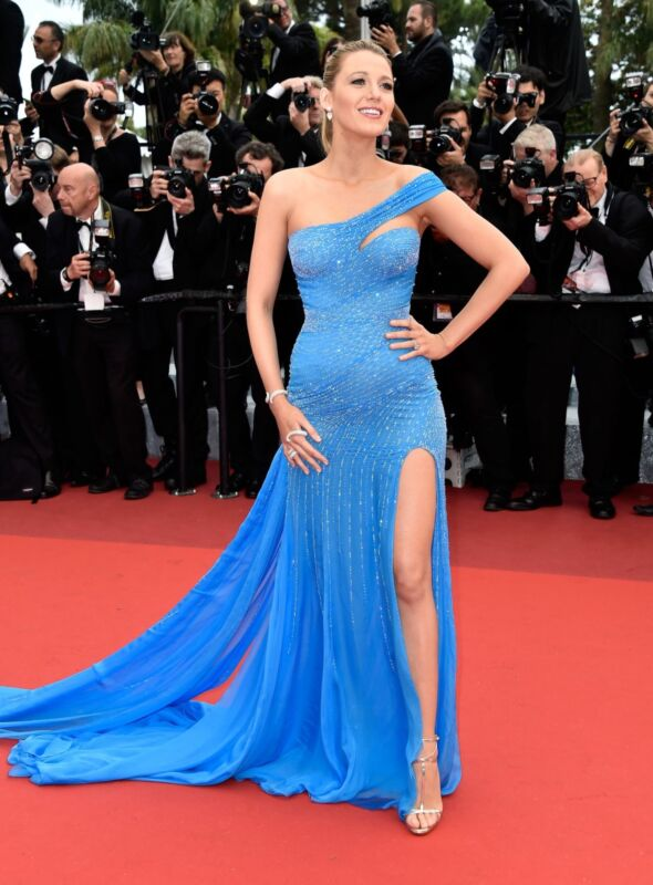 Blake Lively Posing Blue Ddress 8x10 Photo Print