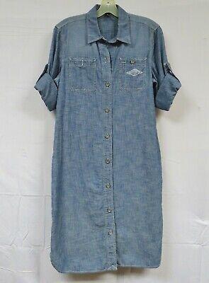 Ralph Lauren Chambray Dress Shirtwaist Shift Button Down Denim Stamped Boho M