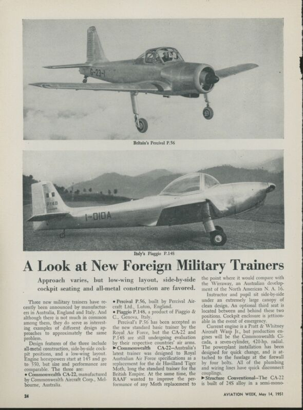 1951 Aviation Article Foreign Military Trainers Commonwealth Percival Piaggio