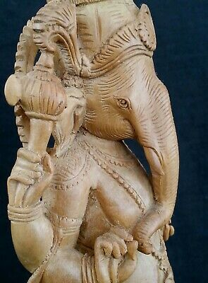 Vintage Bali finely carved Waru wood Ganesh Hindu god sculpture, 11.75 inches