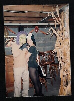 Vintage Photograph Two People Wearing Creepy Halloween Costumes](Halloween Two People Costumes)