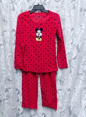 DISNEY MICKEY MOUSE SOFT FLEECE EMBROIDERED PAJAMAS SET TOP PANTS~S~SMALL~XS~NEW (Embroidered Fleece Pant Set)