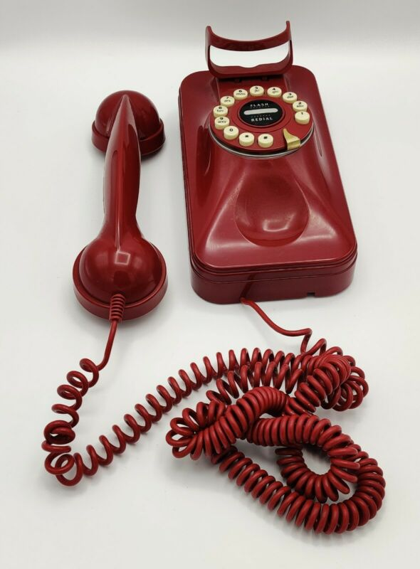 Pottery Barn Grand Wall Phone Telephone Retro 80s Red Rotary Style Push Button
