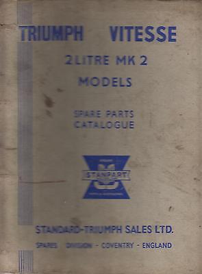 TRIUMPH VITESSE 2-LITRE MK2 SALOON & CABRIO '68-71 FACTORY SPARE PARTS CATALOGUE