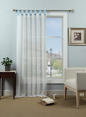 - Country Chic Dotty Voile Curtain Panel Natural / Duck Egg Tab Top - UK seller✔