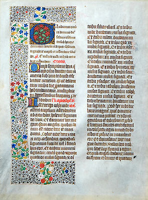 MISSALE BLATT PERGAMENT HANDSCHRIFT ALLERHEILIGEN PRACHT BORDÜRE INITIALEN 1480