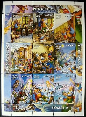 2001 MNH SOMALIA PINOCCHIO STAMP SHEET OF 9 FAIRYTALE STAMPS CHRISTMAS GEPPETTO