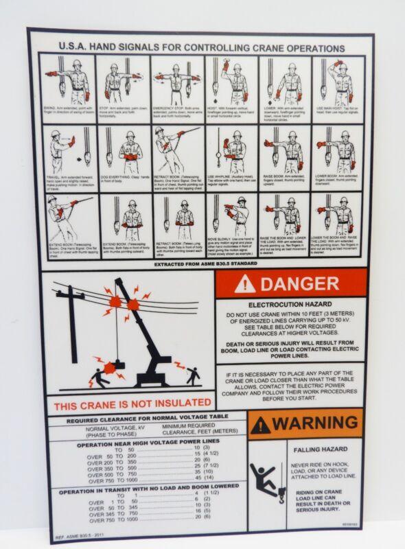 Crane Danger Warning Label Decal Sticker Electrocution Falling Hazard Hand Signa