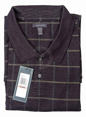 New Mens Van Heusen Polo Shirt Short Sleeve Golf Black Plaid  XL