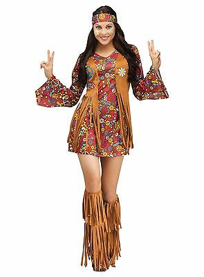 Peace And Love Hippie Costume (Peace and Love Hippie Groovy 60's Retro Adult)