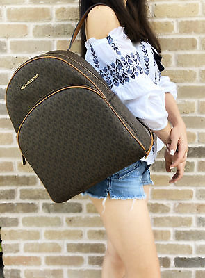 Michael Kors Abbey Large Backpack Brown MK Signature PVC Leather