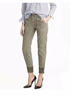 J.CREW Women's 2 Ankle Zip Green Cargo Pants Joggers Ribbed Cuff Black Label