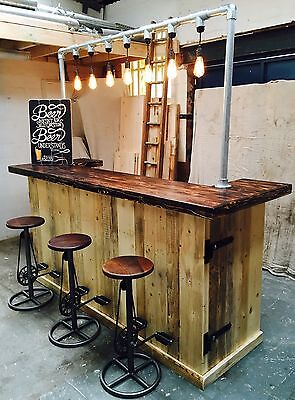 PORTABLE RUSTIC INDUSTRIAL GIN BAR MOBILE BEER ALE COCKTAILS FOLDING PUB DISPLAY