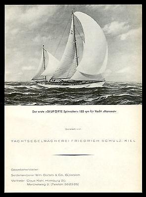 Grosse Werbung 1956 Segelmacherei Friedrich Schulz DIUFORTE Spinnaker Hanseat