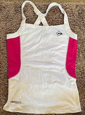 DUNLOP Sports Tennis Womans LADIES Size UK S Tank Strap TOP WHITE PINK FUSCHIA for sale  Shipping to South Africa