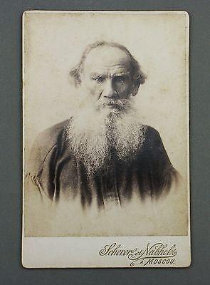 LEO TOLSTOI PORTRAIT PHOTO SCHERER und NABHOLZ B. AVANZO MOSCOW CDV CABINET FOTO