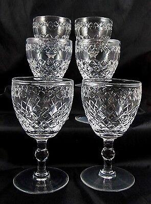 Set of 6 Cut Crystal Stevens & Williamson Wine Glasses 12 cm's