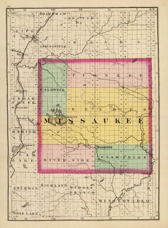 1873 MICHIGAN STATE ATLAS 84 antique maps history old roads DVD