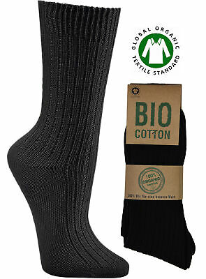 3-12 Paar Herren Bio Business Socken schwarz 100% Bio Baumwolle handgekettelt