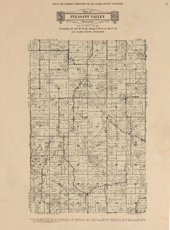1931 EAU CLAIRE COUNTY Atlas plat map WISCONSIN GENEALOGY history Land P159 DVD