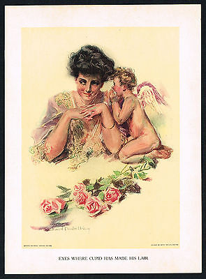1907 Antique Howard Chandler Christy Girl Victorian Lady Fashion Cupid Art - Girl Cupid Costume