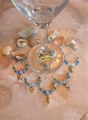 Set of 6 Summertime Beach Themed Wine Glass Charms - Great Gift Idea!
