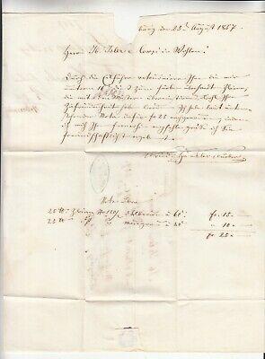 Germany: 2 Entires from Ferdinand Fischer, Lenzburg, to Jacob Isler & Co, 1857, usado segunda mano  Embacar hacia Spain