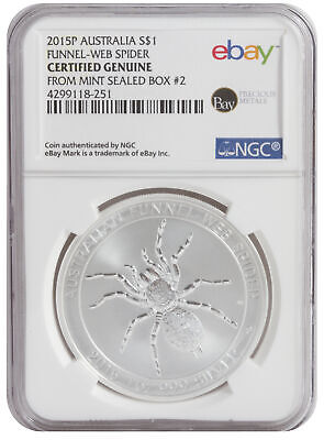 2015-P 1oz Silver Spider -- NGC Certified from Perth Mint Sealed Box 2