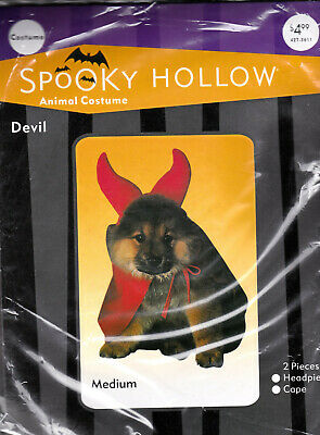 Spooky Animal Halloween Dress Up DEVIL Dog Costume Medium - New Cape & Headpiece - Animal Halloween Costumes For Dogs