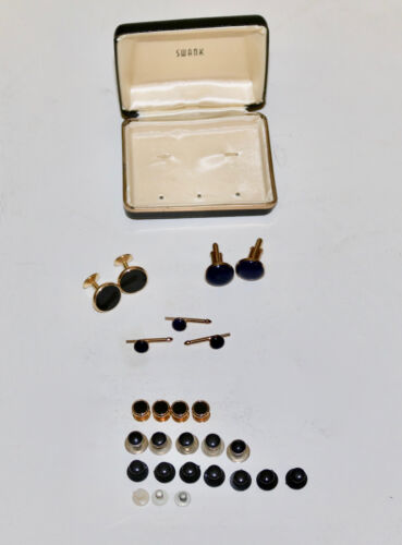 Swank and others vintage cuff links and studs lot set