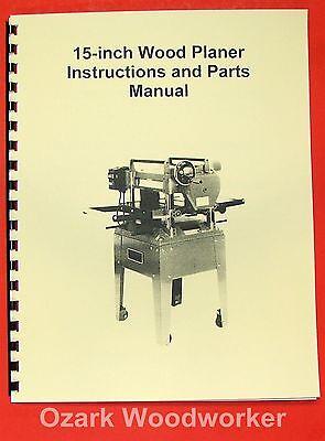 Jetasian Jwp-15ho 15 Wood Planer Operators Parts Manual 0387