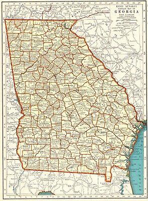 1937 Vintage Map of GEORGIA Antique Georgia State Map 1930s Atlas Map 5823