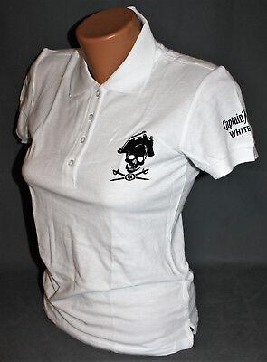 Captain Morgan Rum Damen Woman Polo Shirt Hemd weiß schwarz Gr. L NEU OVP