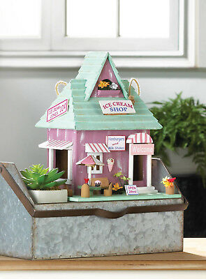 Ice cream store Wood folk art fairy garden Bird house decorative birdhouse