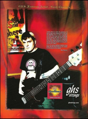 Good Charlotte Paul Thomas for GHS guitar strings ad 8 x 11 advertisement print
